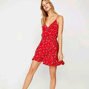 EXPRESS FLORAL SMALL SLEEVELESS RED DRESS